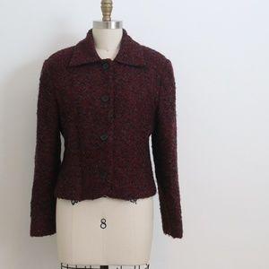 VTG Christian Dior Burgundy woolboucle blazer